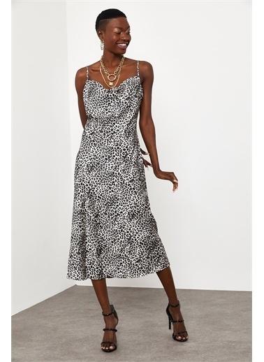 XHAN Siyah & Beyaz Zebra Desenli Saten Midi Elbise 1Kxk6-44829-86 Leopar